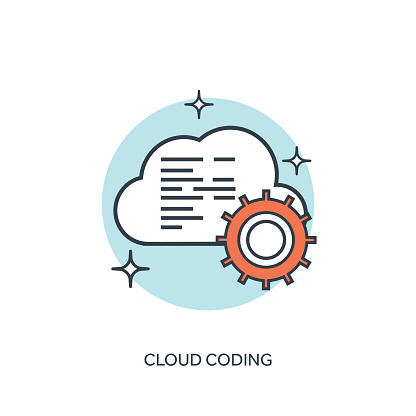 Flat lined cloud computing icon
