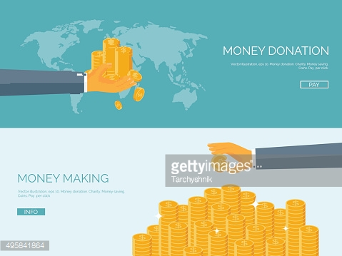 Flat vector illustration backgrounds set. Money and money making.