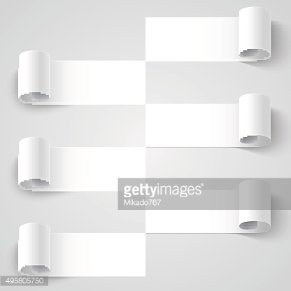 Curled blank paper stripe banners with shadows on white background