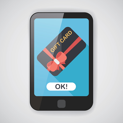 shopping gift card flat icon with long shadow,eps10