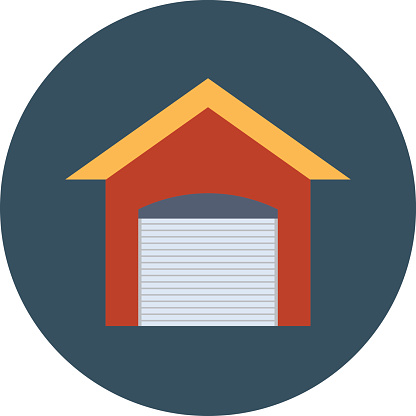 Storage Garage Colored Vector Illustration