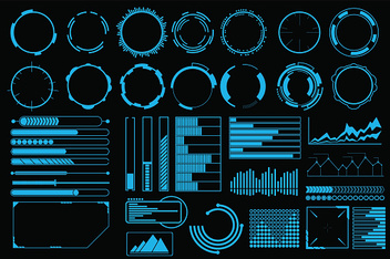 Futuristic user interface elements vector set