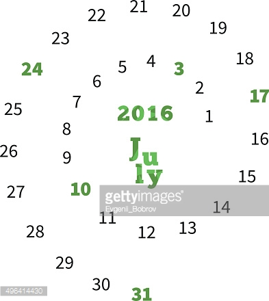 Creative calendar for July 2016 with dates on spiral