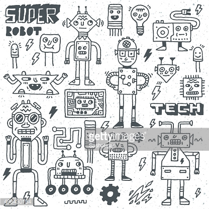 Robots,Electrical, Circuits, Microschemes. Cool and cute funny vector set2.