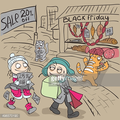 Black Friday Sale. Couple in love with shopping