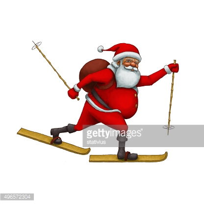 Santa Claus hurry to skiing