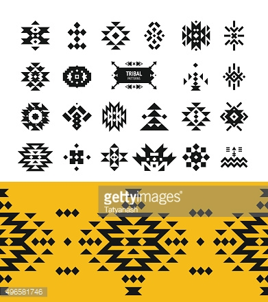 Vector Tribal elements with hipster logo, aztec patterns