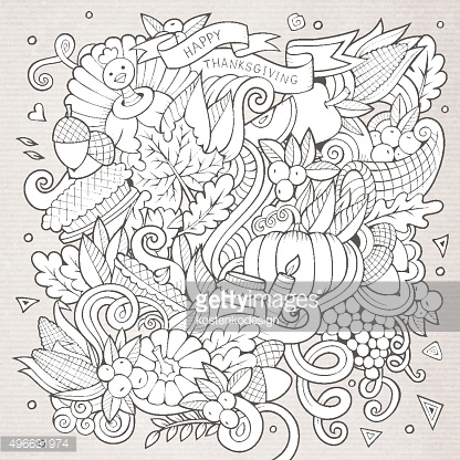 Cartoon vector hand-drawn Doodle Thanksgiving