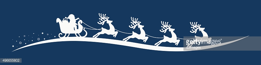 santa claus reindeer sleigh blue background