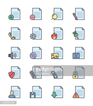 Document & File icons, color set - Vector Illustration