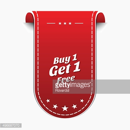 Buy 1 Get 1 Free Red Vector Icon
