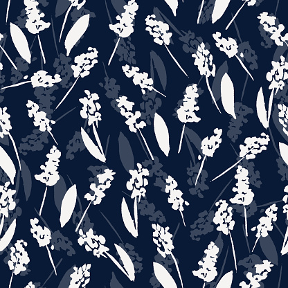 silhouettes of flowers seamless vector pattern.