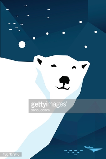 Polar bear with constellation Ursa minor