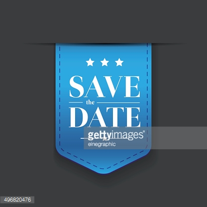 Save the date ribbon blue