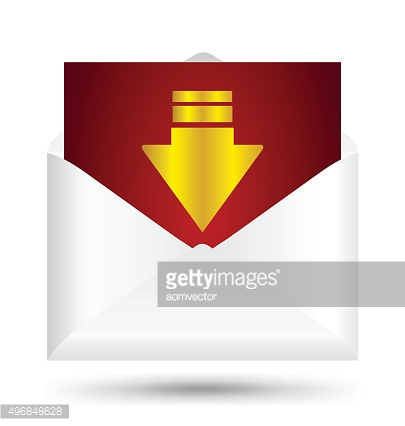 White envelope gold arrow symbol