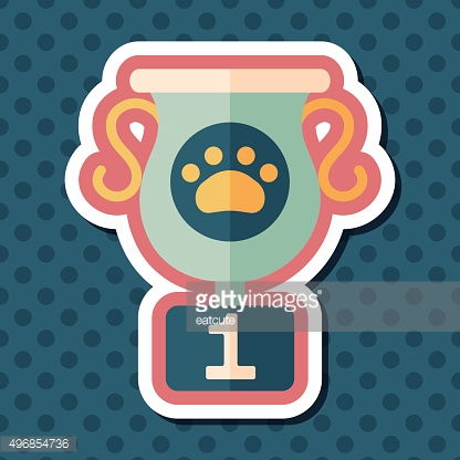 Pet dog champion flat icon with long shadow, eps10
