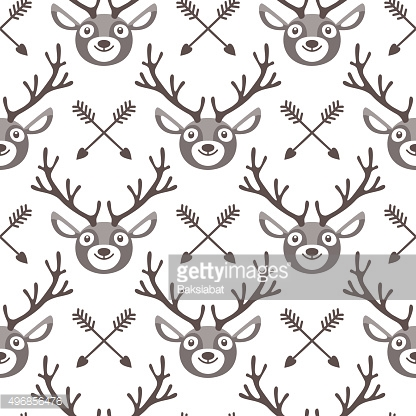 Hipster seamless pattern with deer and arrows