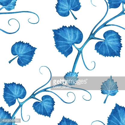Watercolor seamless pattern with blue ivy leaves