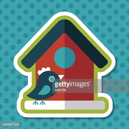 Pet bird house flat icon with long shadow,eps10