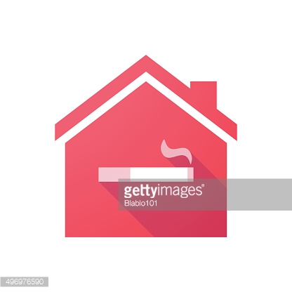 Red house icon with a cigarette
