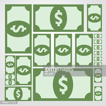 Net collage of green banknotes