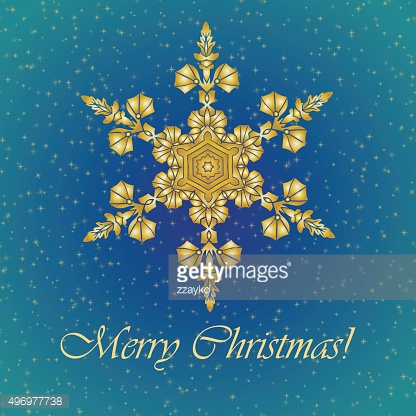 Christmas background with hand-drawn realistic snowflake, golden color.