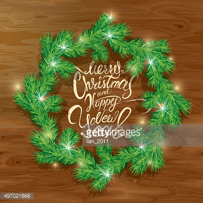 Old Wooden background, Frame of Christmas fir tree branches