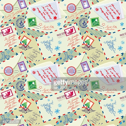 Seamless pattern with xmas stamps, envelops, labels,