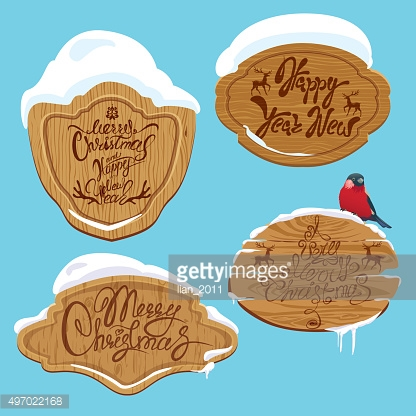 Wooden frames with snow and handwritten calligraphic text Merry Christmas