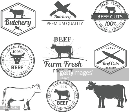 logos for butcher shop and graphic outline cows