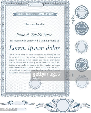 Blue vertical certificate template with additional design elements