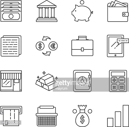 Finance and marketing vector icons set modern line style