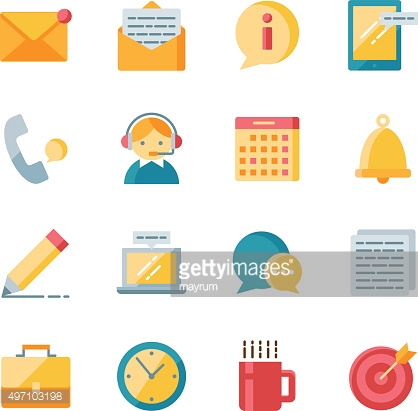 Office vector icons set flat style
