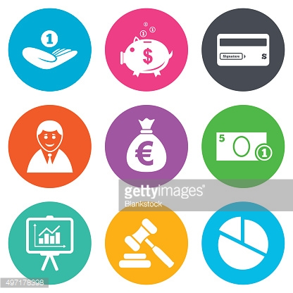 Money, cash and finance icons. Piggy bank sign