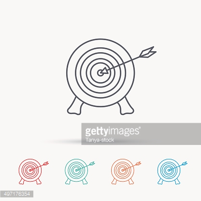 Target with arrow icon. Archery aiming sign.