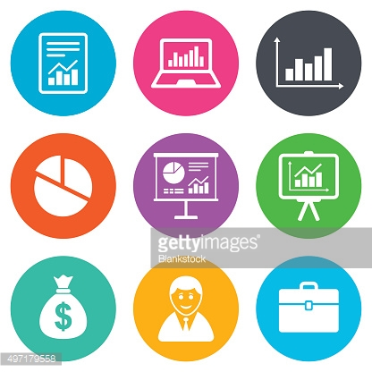 Statistics, accounting icons. Charts signs