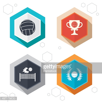 Volleyball and net icons. Winner award cup