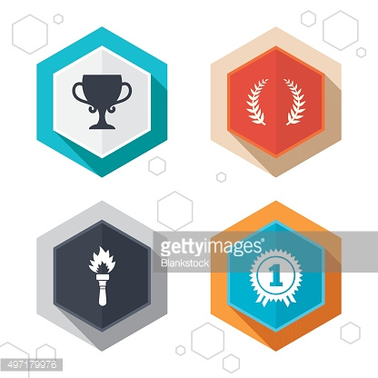 First place award cup icons. Prize for winner