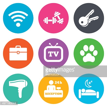 Hotel, apartment service icons. Wi-fi internet