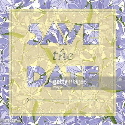 Floral greeting card with text Save the date.