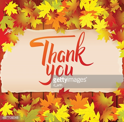Autumn background with lettering Thank You , lettering on the wo