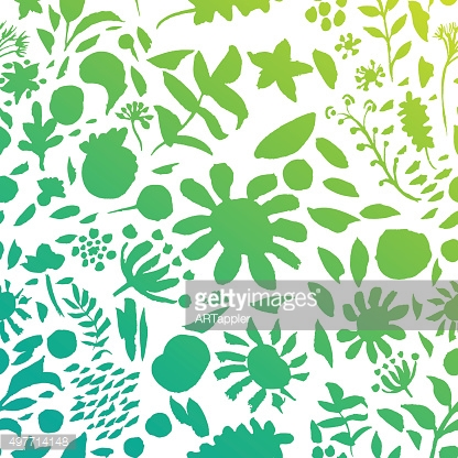 Artistic floral summer green pattern