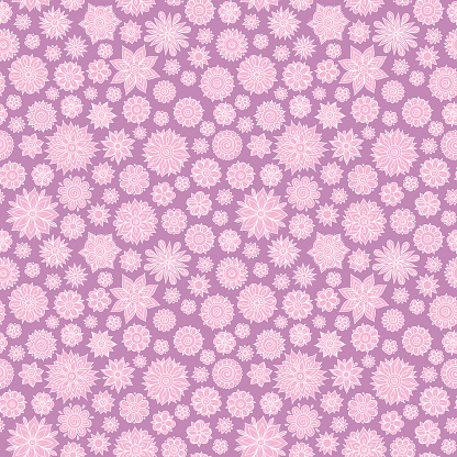 Vector seamless floral pattern with flowers and leaves