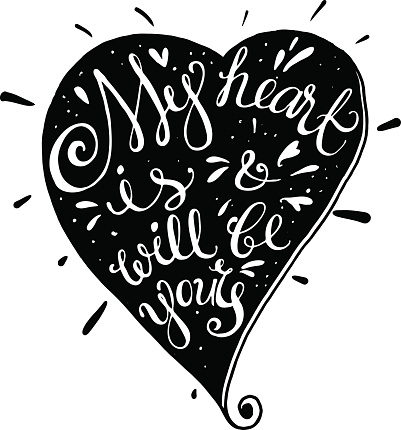 Vector hand drawn typography poster with heart