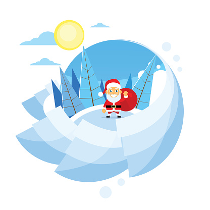 Santa Clause Christmas Cartoon Character Winter Forest Landscape
