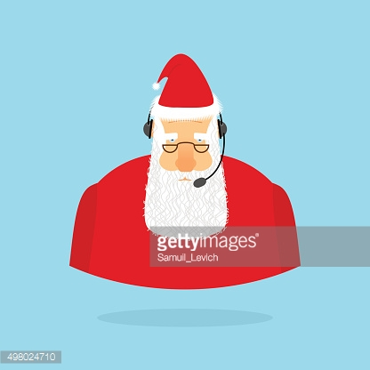 Christmas Call Center. Santa Claus and headset. Santa responds