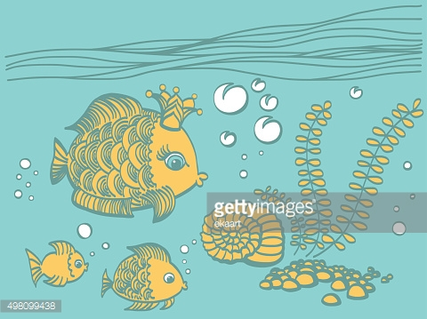 Gold fish with a crown in the sea environment.