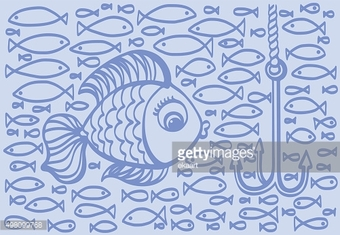 Cartoon drawing illustration of big fish with small fishes