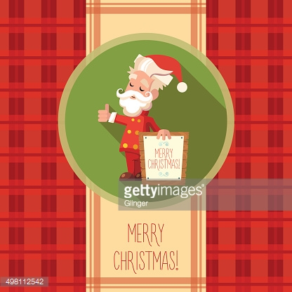 Card with cartoon Santa Claus for Christmas and New Year