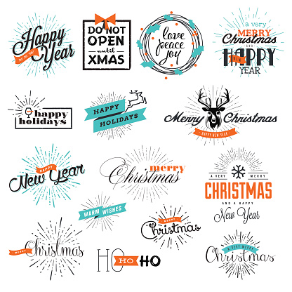 Set of Christmas and New Year's signs
